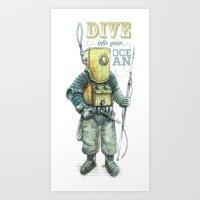 diver Art Prints featuring Diver by pakowacz