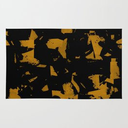 Looking For Gold - Abstract gold and black painting Rug