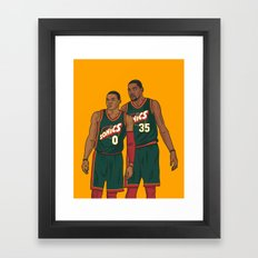 Westbrook and Durant - Retro Jersey Framed Art Print