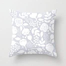 Stylized white and gray vintage roses floral pattern Throw Pillow