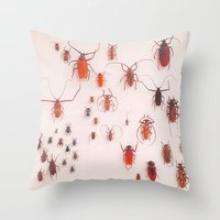 insects Throw Pillows featuring Insects by Guo Shiyuan
