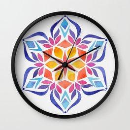 Snowflake - Blue and Yellow Wall Clock