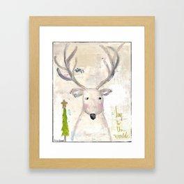 Deer painting, joy to the world Framed Art Print