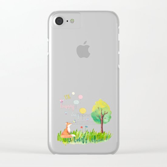 Fox- oh happy day on blue backround- Watercolor illustration Clear iPhone Case
