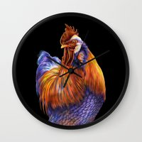 rooster Wall Clocks featuring Rooster by Tim Jeffs Art