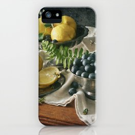 Still Life with Blueberries and Lemons iPhone Case