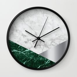 White Marble - Green Granite & Silver #999 Wall Clock