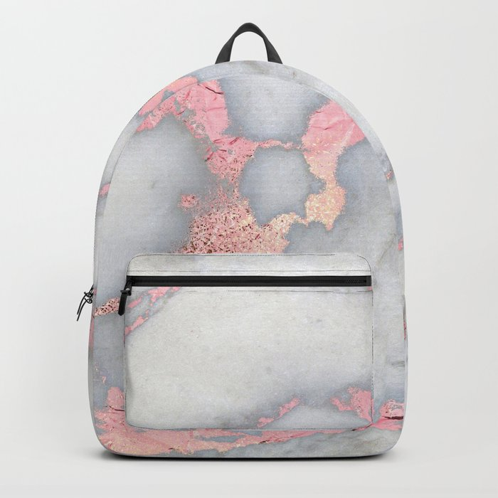 Rosegold Pink on Grey Marble Metallic Foil Style Backpack
