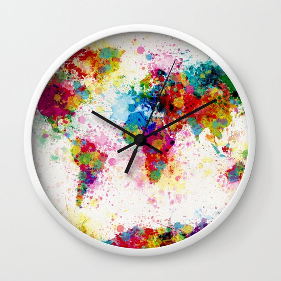 Map of the world map paint splashes wall clock by artpause society6 gumiabroncs Image collections