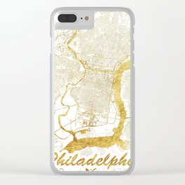 Philadelphia Map Gold Clear iPhone Case