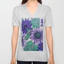 Large Purple Flowers Unisex V-Neck