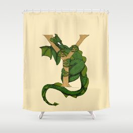 Dragon Letter Y sans Roses Shower Curtain
