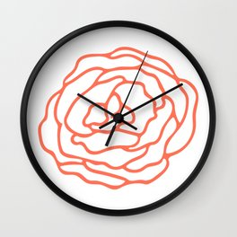 Rose Deep Coral on White Wall Clock