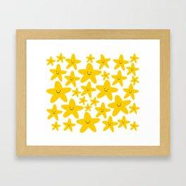 Kawaii Starfish Party Framed Art Print