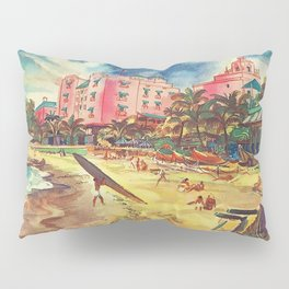 Hawaii's Famous Waikiki Beach - United Air Lines Vintage Travel Poster Pillow Sham