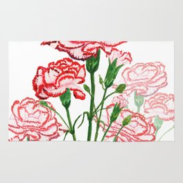 pink and red carnation watercolor painting Rug