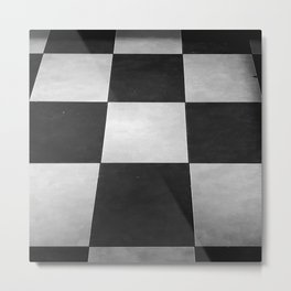 Black and White Tiles Metal Print