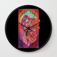 evangelion Wall Clocks featuring Evangelion - Mari and Asuka  by Morgane Grosdidier de Matons