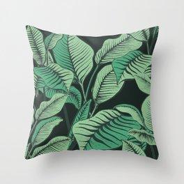 Exotic Tropical Banana Palm Leaf Print Throw Pillow