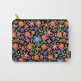 Folk Art Style Floral Carry-All Pouch