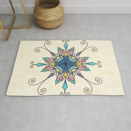 Mandala with Daisies and Roses Rug