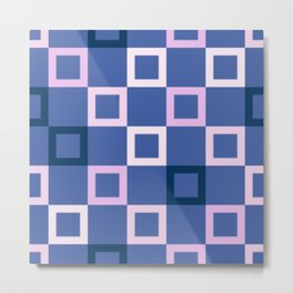 Pink White and Blue Boxes Metal Print