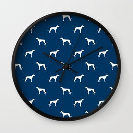 Greyhound blue and white minimal dog silhouette dog breed pattern Wall Clock