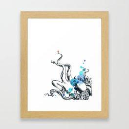 Blue Spot Octopus Framed Art Print