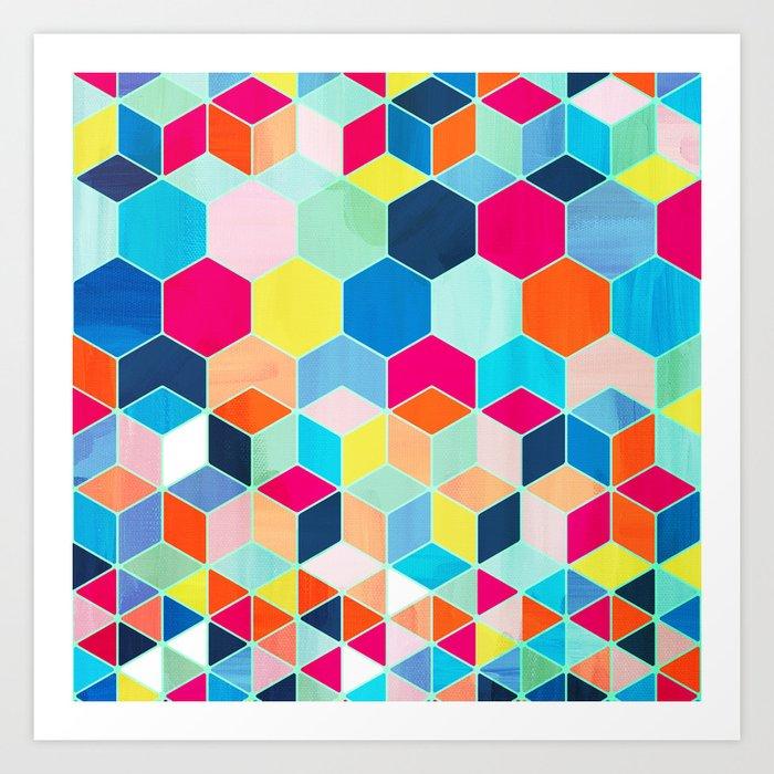 Super Bright Color Fun Hexagon Pattern Art Print