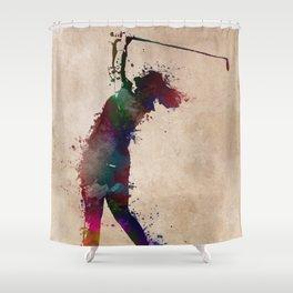 Golf player art 2 Shower Curtain