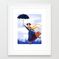 mary poppins Framed Art Prints featuring Mary Poppins by giovanamedeiros