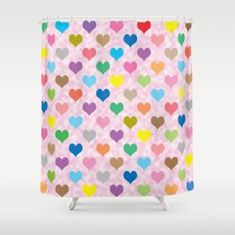 Colorful hearts pattern Shower Curtain
