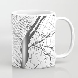 New York City White on Gray Street Map Coffee Mug