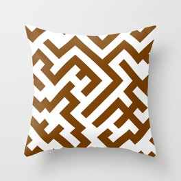 White and Chocolate Brown Diagonal Labyrinth Throw Pillow