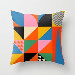 Geometric abstraction in colorful shapes   Throw Pillow