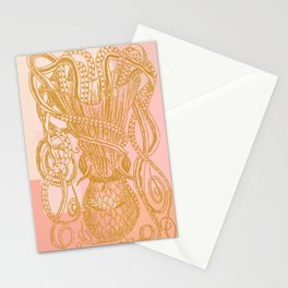 Octopus in Pink and Gold Stationery Cards