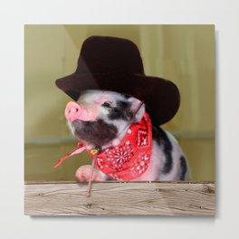 Puppy Cowboy Baby Piglet Farm Animals Babies Metal Print