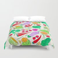 vegetables Duvet Covers featuring Vegetables! by Niche Drawings