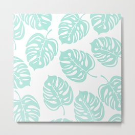 White & Mint Green Leaf Pattern Metal Print
