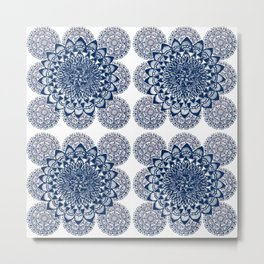 Navy and White Floral Mandalas Metal Print