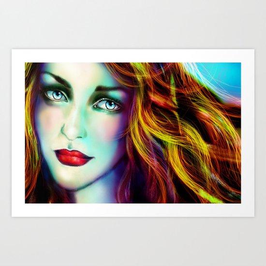 WOMAN FACE (ANGEL) Art Print