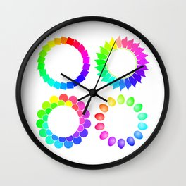 Set of four multicolored round colored frames Wall Clock