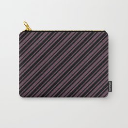 Eggplant Violet and Black Diagonal RTL Var Size Stripes Carry-All Pouch