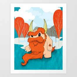 Graggy, the plump Happy Chaos Monster of Scotland Art Print
