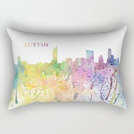 Austin Texas Skyline Impressionistic Splash Rectangular Pillow