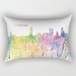 Austin Texas Skyline Impressionistic Splash Rectangular Pillow
