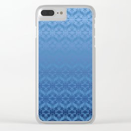 Blue Weaves Pattern Clear iPhone Case
