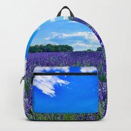Wildflowers Blooming in a Meadow | Purple Lavender Perennials Deep Blue Sky Spring Landscape France Backpack