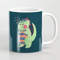 trex Mugs featuring Green Dino by haidishabrina