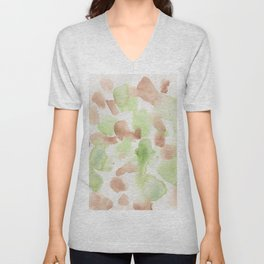180714 Green Brown Abstract Watercolour 20  Watercolor Brush Strokes Unisex V-Neck